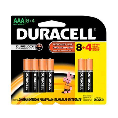 Pilha alcalina palito AAA leve 12 pague 8 - Duracell