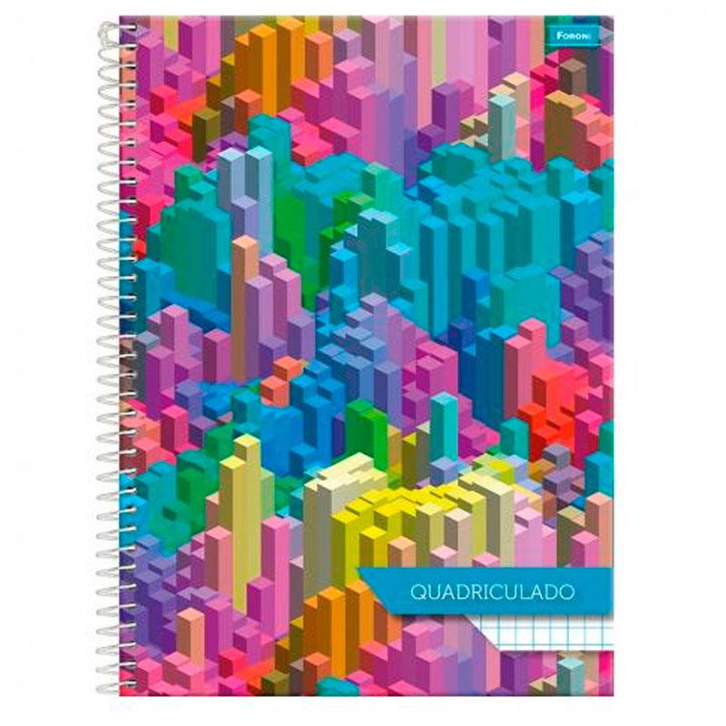 Caderno espiral capa dura quadriculado universitário 1X1 - 96 folhas - Square - Capa 1 - Foroni
