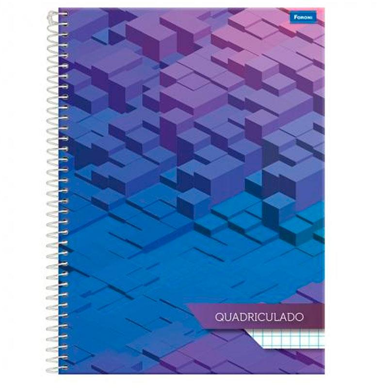 Caderno espiral capa dura quadriculado universitário 1X1 - 96 folhas - Square - Capa 2 - Foroni