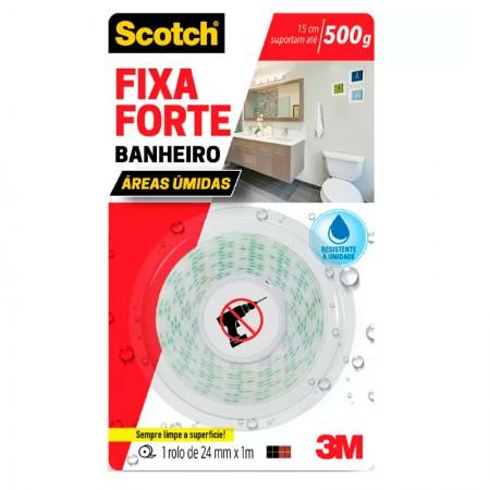 Fita dupla face espuma Fixa Forte 24mmx1.5m - banheiro - 3M