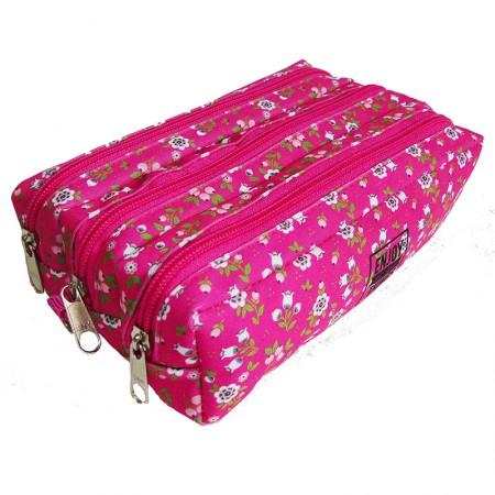 Estojo escolar triplo com ziper - 113-4034/20 - Flowers Pink - Franesb