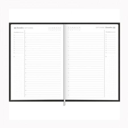 Agenda executiva costurada diária de mesa permanente Prátika 2022 - Preto - Tilibra