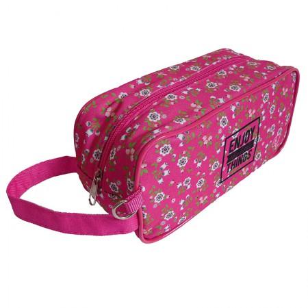 Estojo escolar com ziper - 201-4034/20 - Multiuso Flowers Pink - Franesb