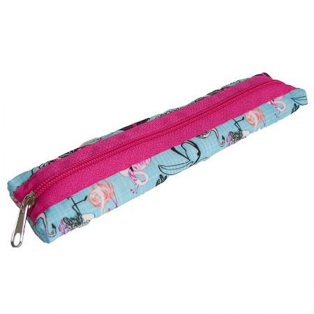 Estojo escolar com ziper - 109-1140/20 - Canudinho Flamingo - Franesb