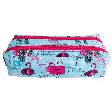 Estojo escolar duplo com ziper - 112-1140/20 - Flamingo - Franesb