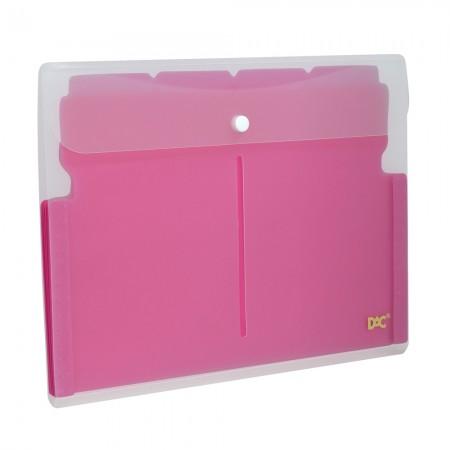 Pasta sanfonada horizontal soft A4 5 divisões rosa 678PPRS Dac
