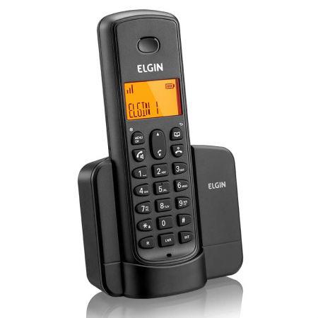 Telefone s/fio c/identificador e viva voz preto Elgin
