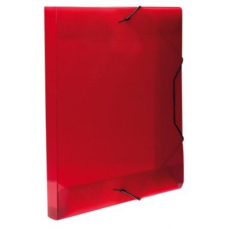 Pasta com aba elástico ofício lombo 20mm - Topline - transparente vermelha - 0234.U - Dello