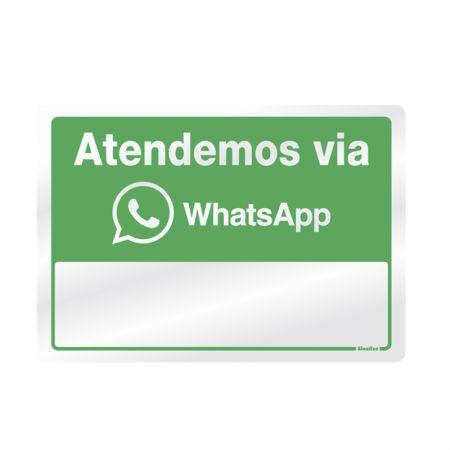 Placa de alumínio atendemos via WhatsApp 150AQ - Sinalize