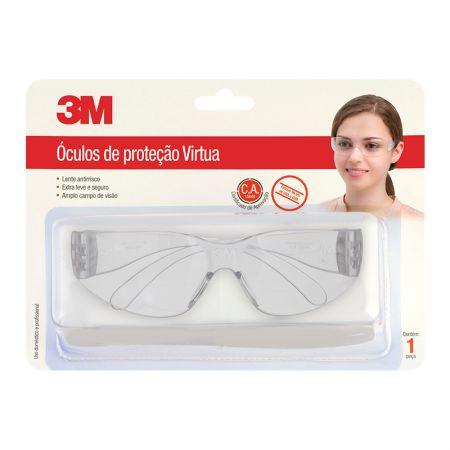 Óculos de proteção virtua - transparente - 3M (C.A. 15649)