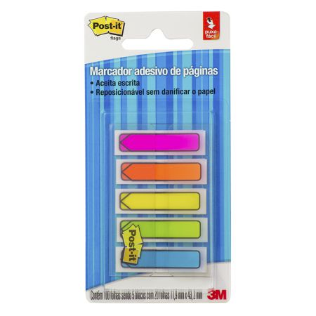 Post-It tape flags setas - 100 folhas  com 5 cores neon - 3M