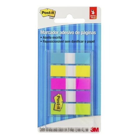 Post-It tape flags - com 5 cores neon - com 100 folhas - 3M