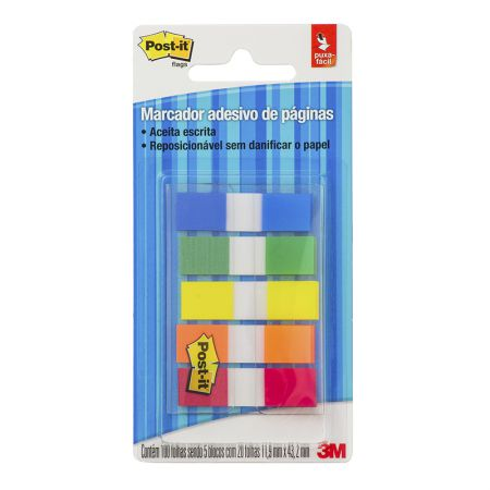 Post-It tape flags - com 5 cores sortidas - com 100 folhas - 3M