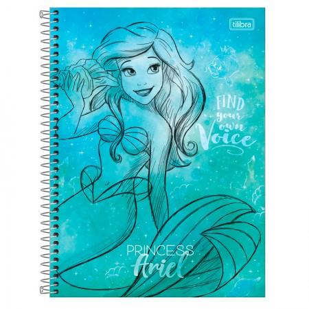 Caderno espiral capa dura universitário 1x1 - 80 folhas - Princesas Fashion - Ariel - Tilibra