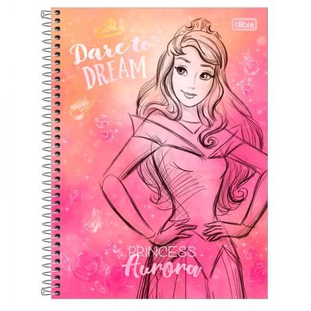 Caderno espiral capa dura universitário 1x1 - 80 folhas - Princesas Fashion - Aurora - Tilibra
