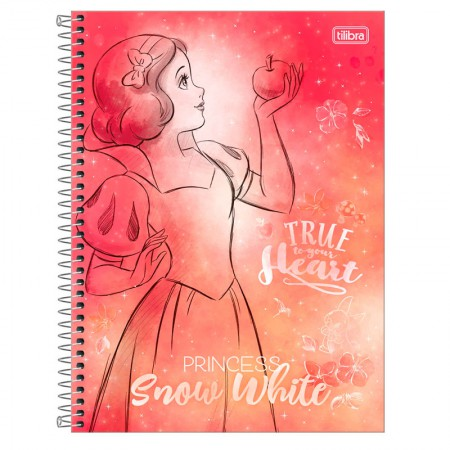 Caderno espiral capa dura universitário 1x1 - 80 folhas - Princesas Fashion - Branca de neve - Tilibra