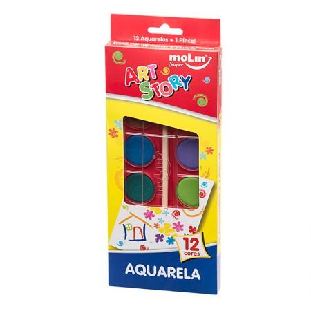 Aquarela 12 cores + pincel - 18385 - Molin