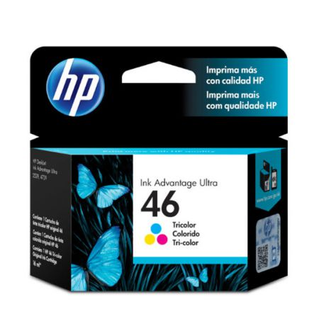 Cartucho HP Original (46) CZ638AL - cores rendimento 750 páginas