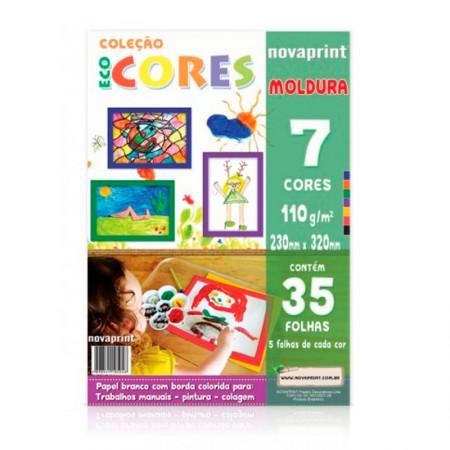 Bloco ecocores com moldura 110g - 230x320mm - 35 folhas com 7 cores - Novaprint