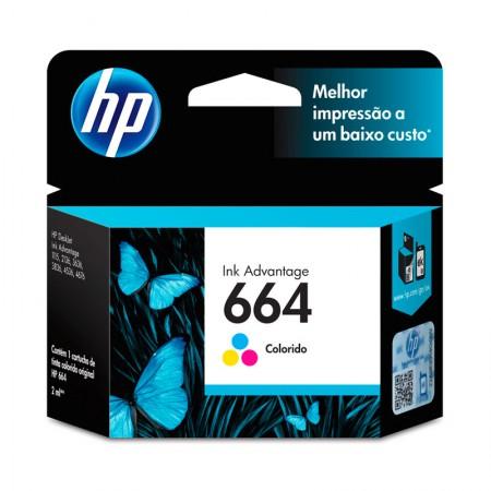 Cartucho HP Original (664) F6V28AB - cores rendimento 100 páginas