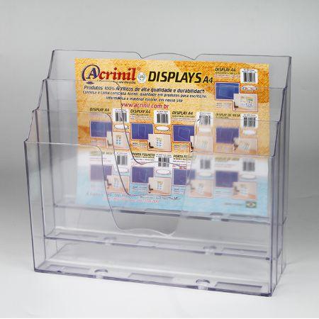 Organizador de escritório 3 divisões - cristal - 730.0 - Acrinil