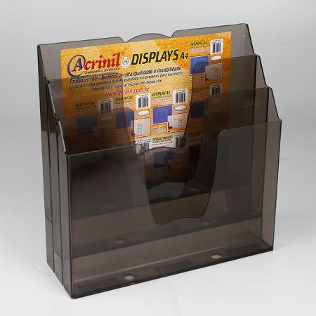 Organizador de escritório 3 divisões - fumê - 730.1 - Acrinil