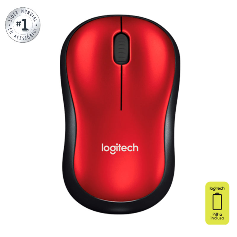 Mouse sem fio M185 vermelho - Logitech