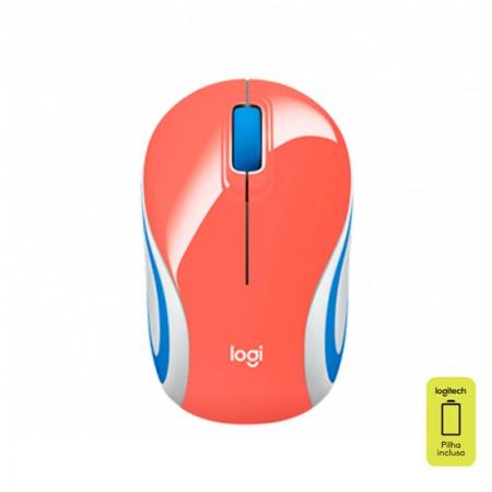 Mouse mini sem fio M187 coral - Logitech