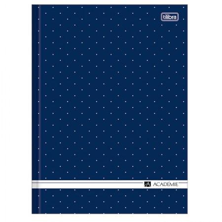 Caderno brochura capa dura 1/4 - 80 folhas - Academie feminino - Azul marinho - Tilibra