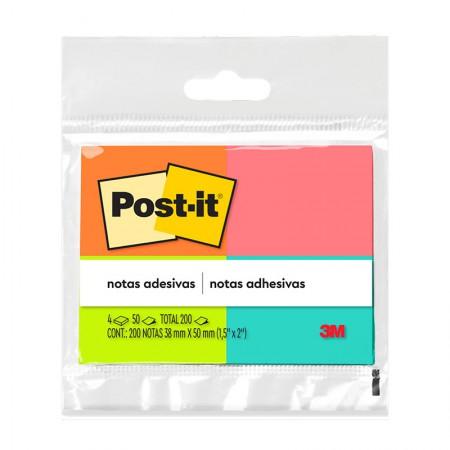 Bloco Post-It 653 - cores - com 4 blocos de 50 folhas - 3M