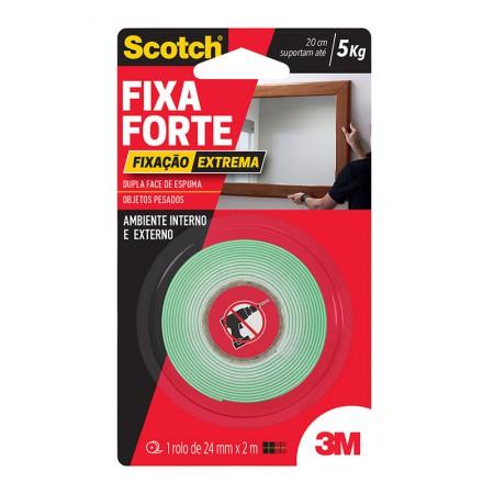 Fita dupla face transparente Fixa Forte 25mmx2m - Extreme - 3M