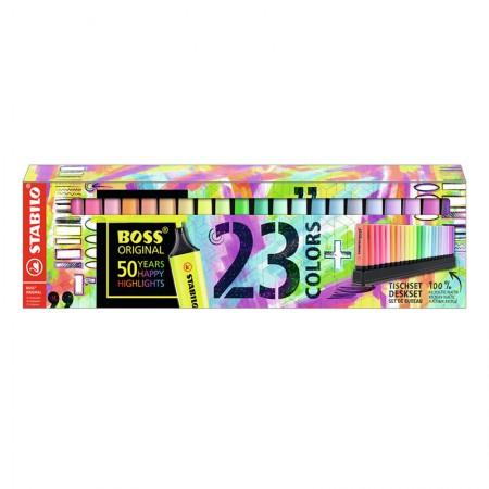 Pincel marca texto Boss 7023-01 - estojo com 23 cores - Stabilo