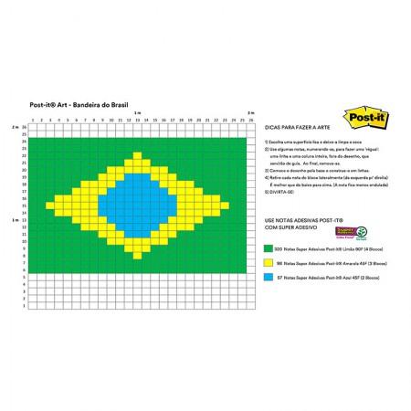 Post-it Art Bandeira do Brasil - 9 Blocos - Faça você mesmo - 3M