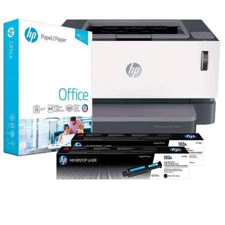 Impressora HP Neverstop 1000W - 4RY23A + 2 Kit de Recarga HP Neverstop + Papel sulfite A4 75g 500 fls - HP