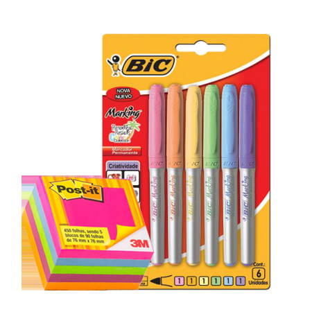 Marcador permanente Marking 1,1mm 6 cores pastéis Bic + Bloco Post-it 654 cubo tropical com 450 folhas 3M - Kit Lepok