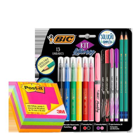 Kit Lettering solução completa - com 13 itens Bic + Bloco Post-it 654 cubo tropical com 450 folhas 3M - kit Lepok