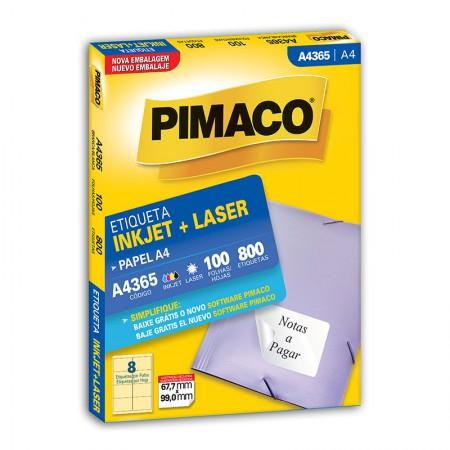 Etiqueta inkjet/laser A4365 - com 100 folhas - Pimaco