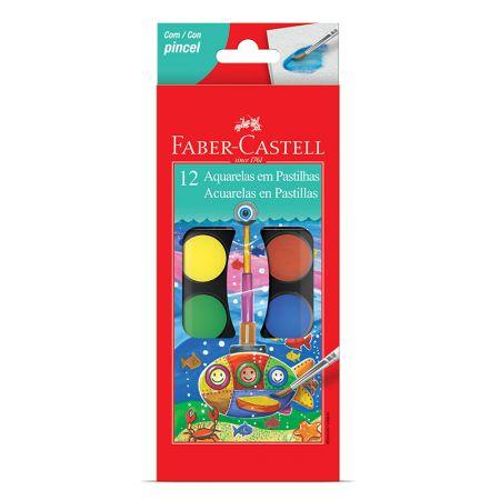 Aquarela pastilha 12 cores - 19.0012 - Faber-Castell