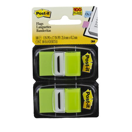Post-It tape flags - verde - com 100 folhas - 3M