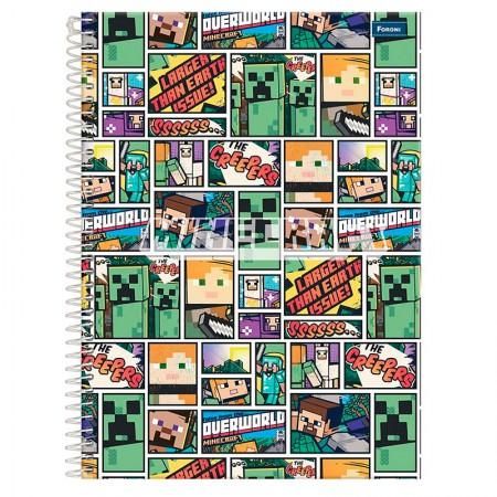 Caderno espiral capa dura universitário 1x1 - 96 folhas - Minecraft - Capa 1 - Foroni