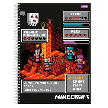 Caderno espiral capa dura universitário 1x1 - 96 folhas - Minecraft - Capa 3 - Foroni