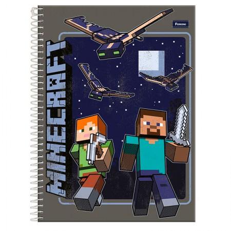 Caderno espiral capa dura universitário 1x1 - 96 folhas - Minecraft - Capa 4 - Foroni