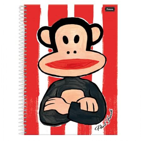 Caderno espiral capa dura universitário 10x1 - 200 folhas - Paul Frank - Listrado - Foroni