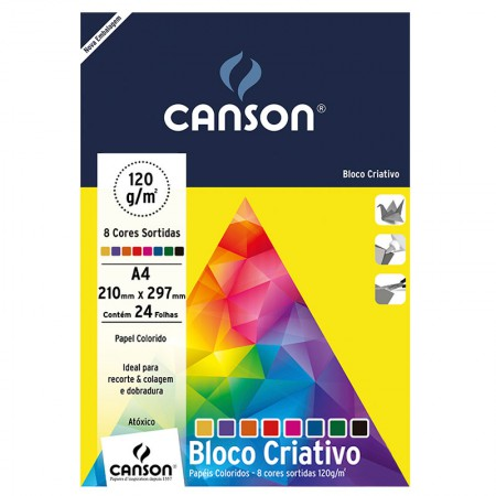 Bloco Criativo Cards A4 120g 8 cores 24fls Canson