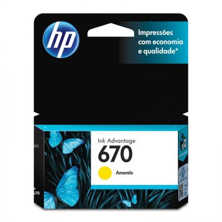 Cartucho HP Original (670) CZ116AB - amarelo rendimento 300 páginas