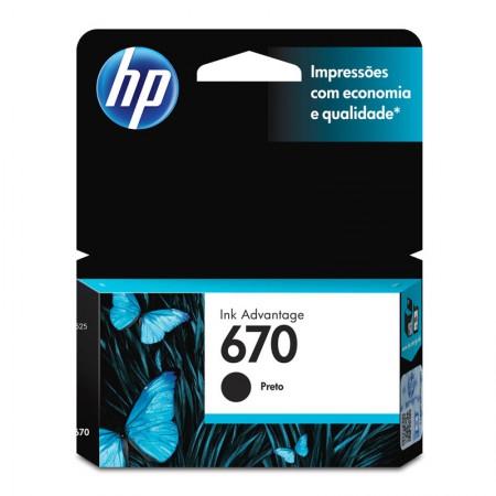 Cartucho HP Original (670) CZ113AB - preto rendimento 250 páginas