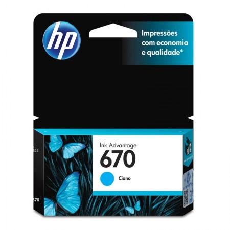 Cartucho HP Original (670) CZ114AB - ciano rendimento 300 páginas