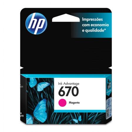 Cartucho HP Original (670) CZ115AB - magenta rendimento 300 páginas