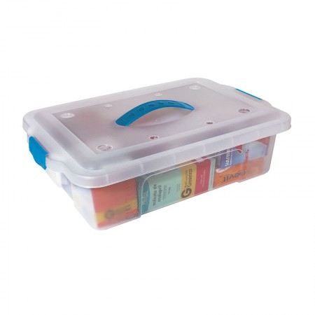 Caixa organizadora box baixa com trava - cristal - OR-10 - 8,40  litros - São Bernardo