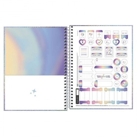 Caderno colegial capa dura 1x1 - 80 folhas - Glow - Full Of Sunshine - Tilibra